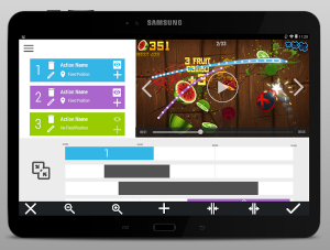 A screenshot of the assistive play donor application. On the top side it shows a screenshot of fruit ninja with two traces, of two different swipes. Below a list of options to annotate which actions those traces correspond to. Finally, in the last third of the image, a timeline is shown with the limits of each gestured identified by the app.